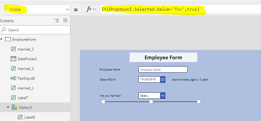 Conditional Visibility in PowerApps