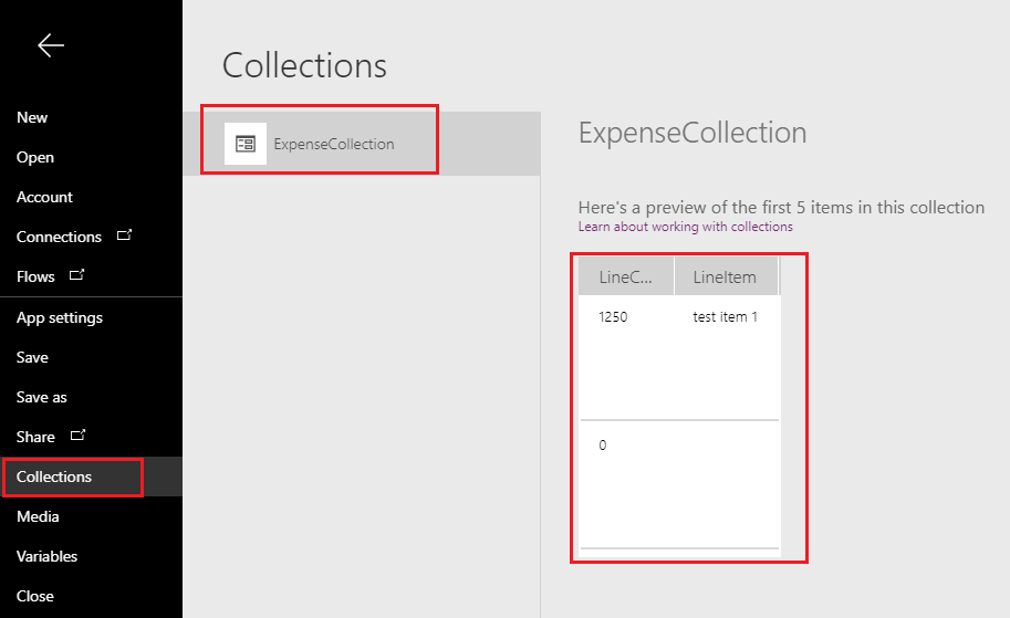 PowerApps Collection