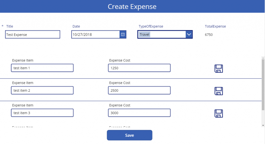 New Expense Screen
