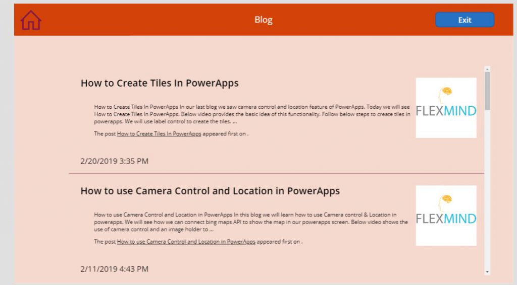 How to show RSS feed in PowerApps  