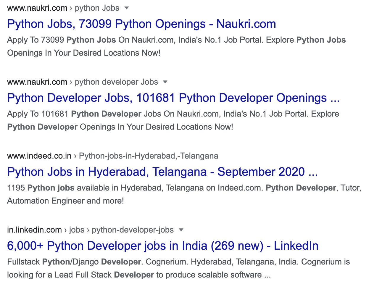Python jobs in India