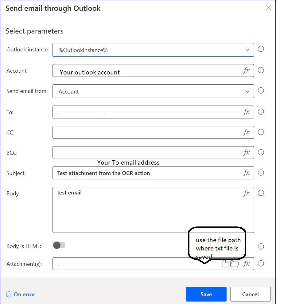 Send email through Outlook