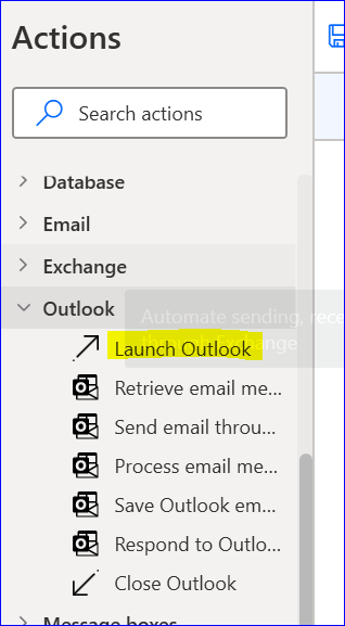 Outlook Action in PAD